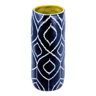 Boho Chic Blue and White Peacock Feather Artistic Ceramic Vase For Sale
