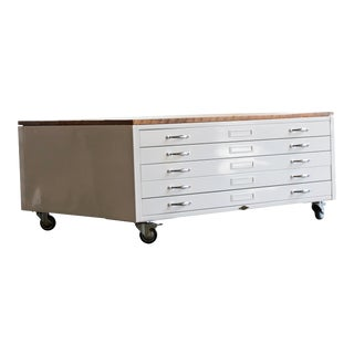 Flat File Coffee Table in High Gloss White With Reclaimed Wood For Sale
