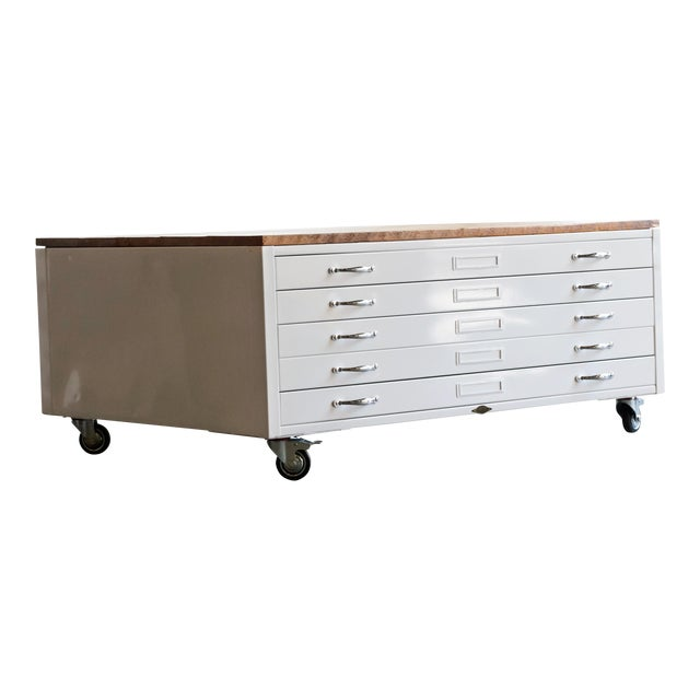 Flat File Coffee Table In High Gloss White With Reclaimed Wood Chairish