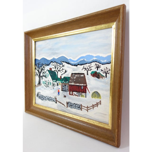Paint Framed Folk Art Winter Homestead Painting For Sale - Image 7 of 9