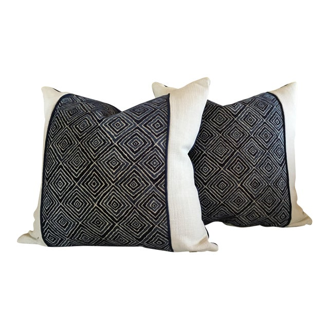 Robert Allen Blue & White Geometric Fabric Accent Pillow Covers - A Pair For Sale