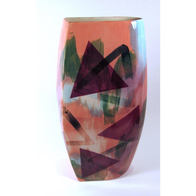 Vintage 1989 John Bergen Studio Ceramic Vase For Sale - Image 4 of 12