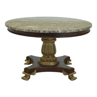 Drexel Round Marble Top Neoclassical Center or Dining Table For Sale