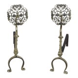 Image of Vintage Brass Arts & Crafts Style Fireplace Andirons - A Pair For Sale