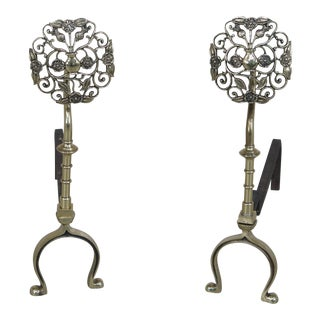Vintage Brass Arts & Crafts Style Fireplace Andirons - A Pair For Sale