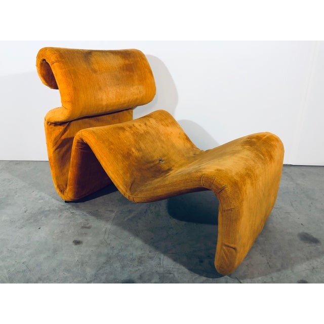 Etcetera lounge chair in gold fabric by Jan Ekselius for J.O. Carlsson. Sweden, 1970s. Ready for new upholstery.