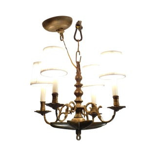 Vintage Brass Colonial Style 4 Light Star Chandelier For Sale