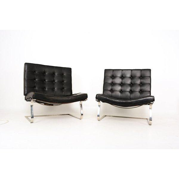 For your consideration a pair of Tugendhat lounge chairs designed by Mies van der Rohe, Produced 7/15/1966 by Knoll....
