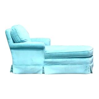 Vintage Mid Century Modern Tiffany Blue Velvet Chaise Lounge For Sale