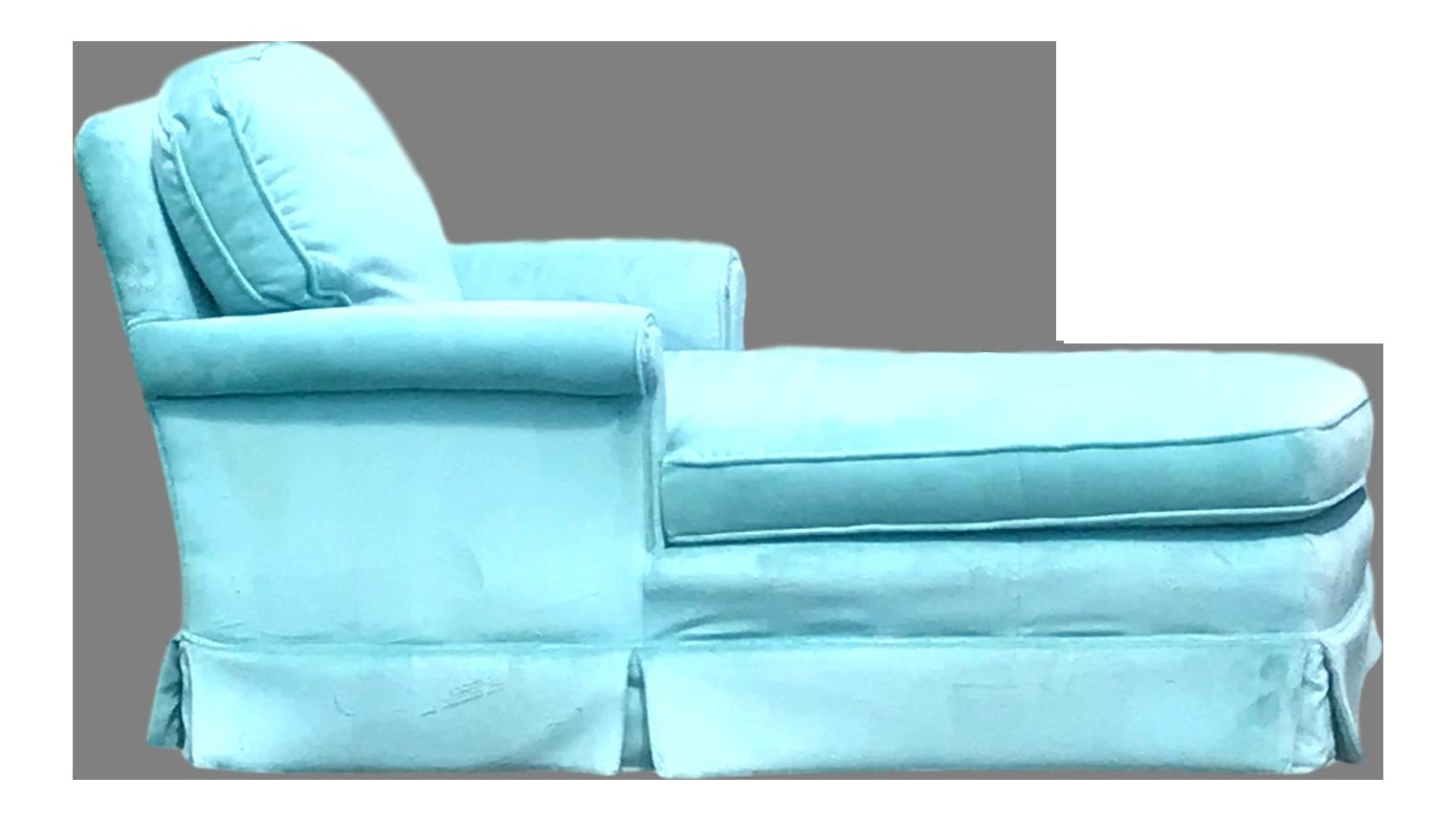 Vintage Mid Century Modern Tiffany Blue Velvet Chaise Lounge Chairish