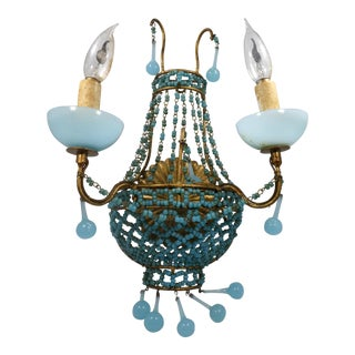 Italian Blue Murano Glass Macaroni Bead Tole Sconce For Sale