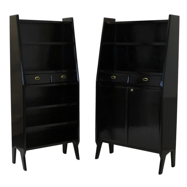 A Pair of Large Ebonised Architectural Bookcases For Sale