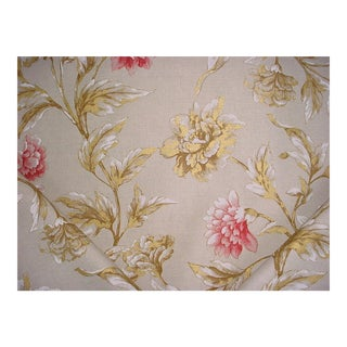 Mullberry Gilded Peony Linen Pink Handprinted Floral Upholstery Fabric - 16 Yards For Sale