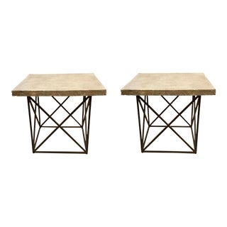 Organic Modern Pair of Currey & Co. Concrete and Iron Side Tables For Sale
