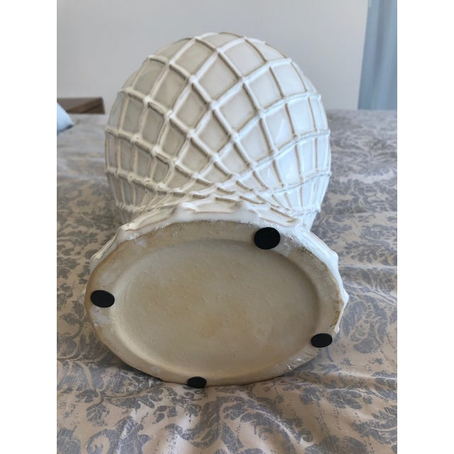 Exquisite Blanc De Chine Lidded Vase With Lattice Design, Italy For Sale - Image 11 of 12