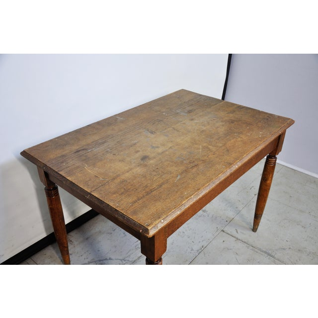 1950s Vintage French Oak Farmhouse Dining Table For Sale - Image 5 of 9