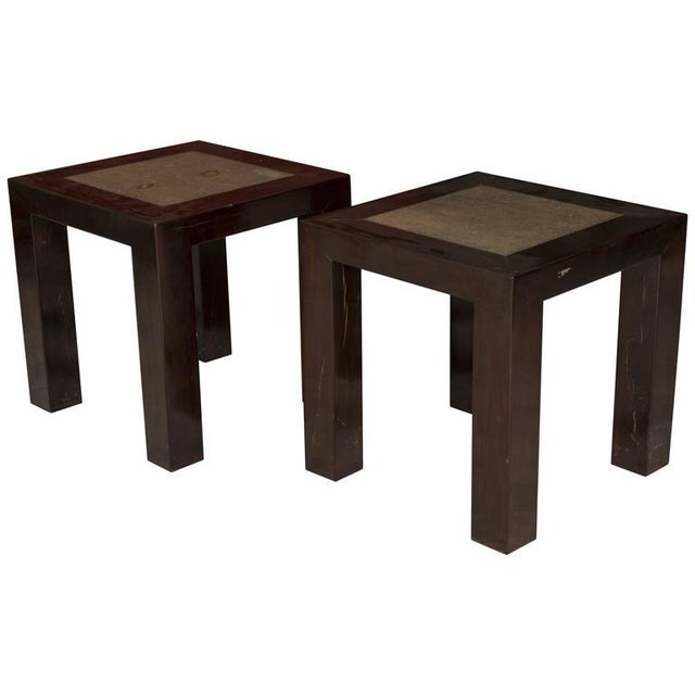 Concrete Insert Ebonized Wood Side Tables - a Pair For Sale - Image 4 of 4