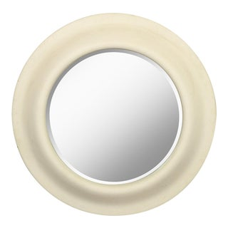 Vintage Faux Stone Round Wall Mirror For Sale