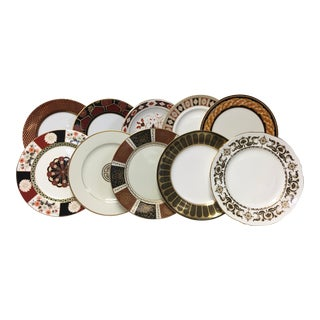 Mixed Black & Rust Dinner Plates Set of 10 For Sale