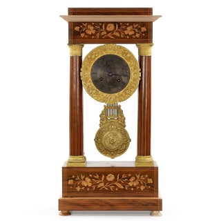 Marquetry Inlaid Mantel Clock