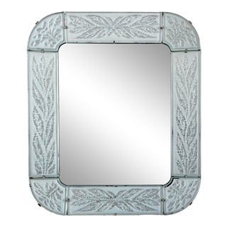Mid-20th Century Swedish Chiseled and Frosted Glass-Framed Mirror For Sale