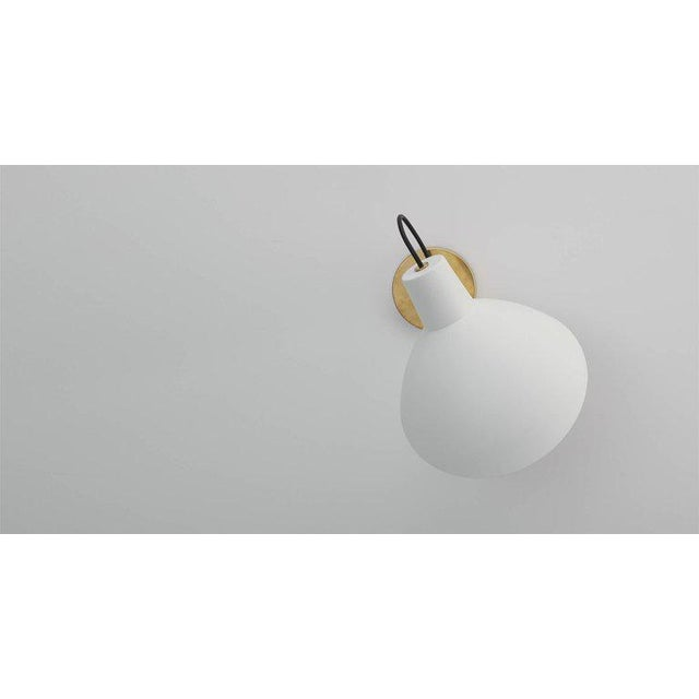 Italian Vittoriano Viganò 'Vv Cinquanta' White Enamel and Gold Aluminum Wall Sconces - a Pair For Sale - Image 4 of 13