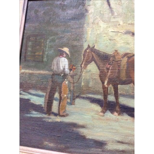 """Cowboy Bringing Flowers"" Vintage Oil Painting For Sale In San Francisco - Image 6 of 11"