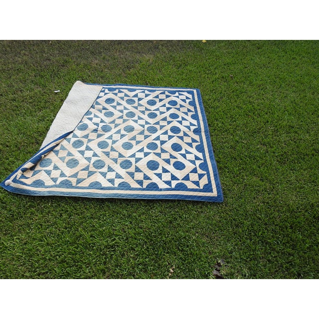 Antique Blue & White Graphic Quilt For Sale - Image 9 of 10