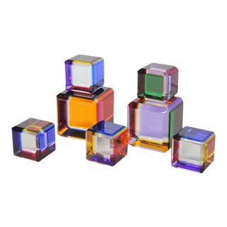 Vasa Velizar Mihich Lucite Cubes - Set of 5 For Sale