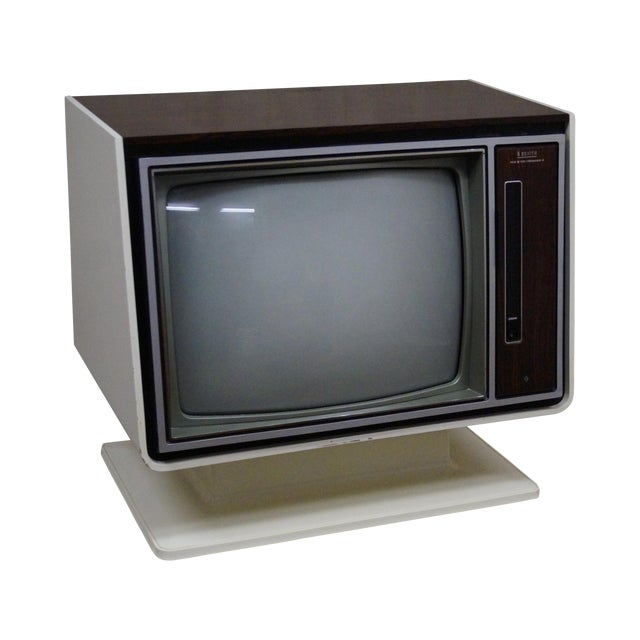 Vintage White Zenith TV on Stand circa 1970s For Sale