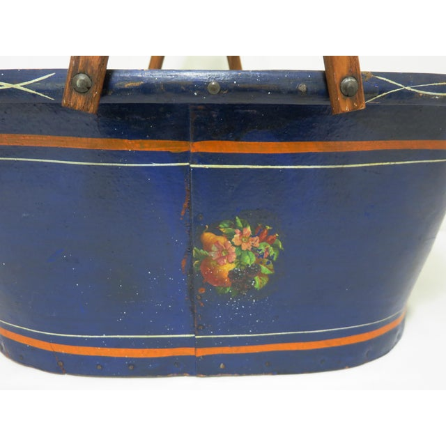 Navy Blue 1890s Antique Grocery Shopping Carry Basket For Sale - Image 8 of 13
