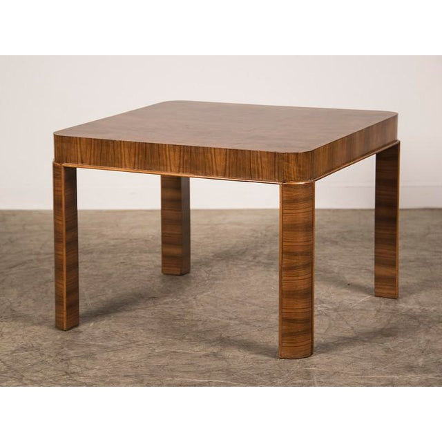 A square Art Deco period burl walnut table from Germany c. 1930. This table graced a Bauhaus villa in the town of Hof in...