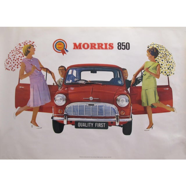 "1959 Original Vintage Car Advertisement Poster - British Car ""Morris 850 Mini"" For Sale - Image 6 of 6"