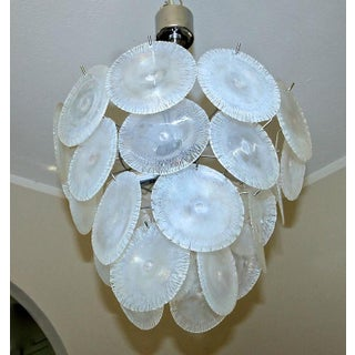1960s Hollywood Regency Mazzega Murano Iridescent Round Disc Chandelier Preview