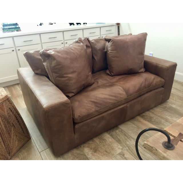 2010s Modern Restoration Hardware Cloud Brown Leather Loveseat For Sale - Image 5 of 9