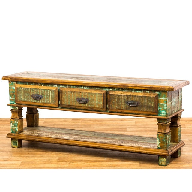2010s Reclaimed Wood Console Table For Sale - Image 5 of 8