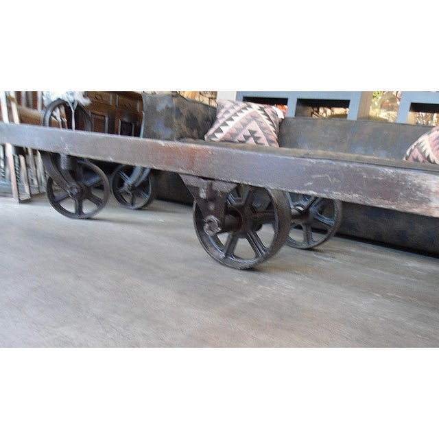 Industrial Glass Top Iron Cart Coffee Table - Image 4 of 5