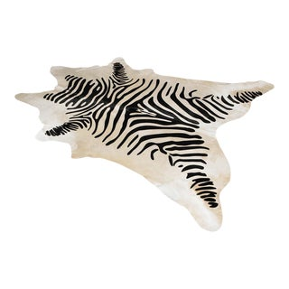 Garrett Leather Capelli Stenciled Zebra Hide Rug - 5′8″ × 7′1″