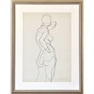Vintage Nude Figural Pen & Ink Line Drawing by Gerard Haggerty For Sale