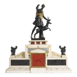 Large 19th Century Neoclassical Figural Bronze and Marble Mantle Clock For Sale