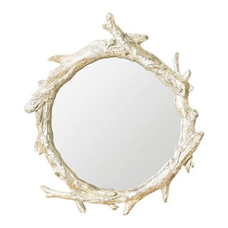 Oakes Silver Finish Faux Bois Round Mirror For Sale