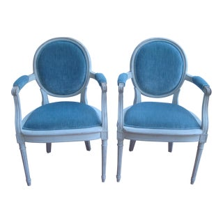 Pair Antique French Blue Velvet Armchairs With White Wash Paint For Sale
