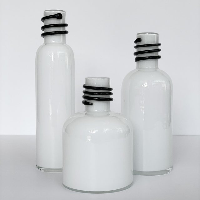 Memphis Set of 3 White Cased Glass Vases / Bottles by Tarnowiec For Sale - Image 3 of 5