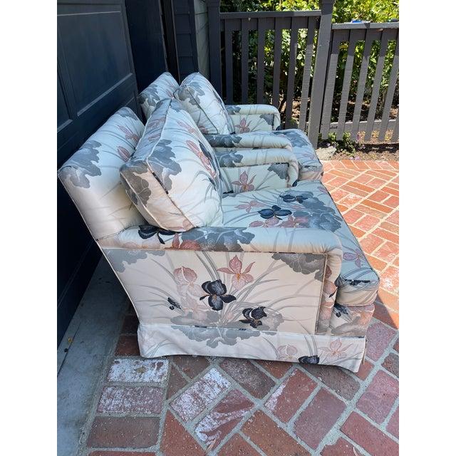 80s chintz designer fabric custom upholstered arm chairs. Estate sale find. Pristine!