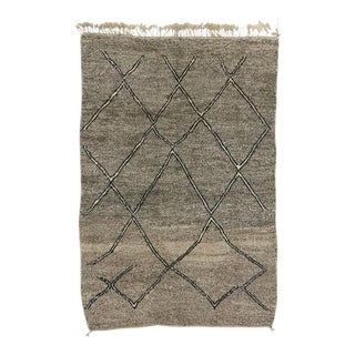Taupe Berber Moroccan Rug with Modern Style For Sale