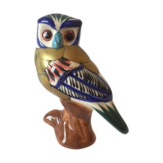 Vintage Owl Ceramic And Brass Figurine For Sale