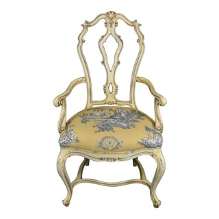 French Queen Anne Style Country Captain Chair For Sale