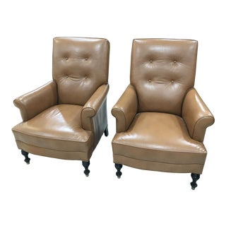 21st Century Tufted Back Leather Chairs - A Pair For Sale