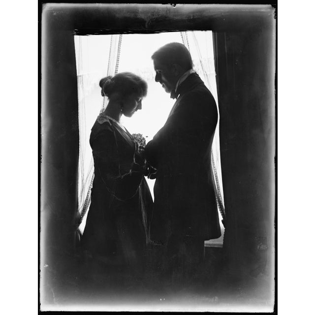 Early 1900's Man & Wife Next to Window Print For Sale - Image 4 of 4