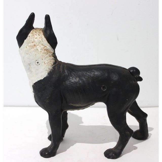 Hubley Manufacturing Company Vintage Hubley Style Boston Terrier Dog 2-Piece Cast Iron Doorstop Door Stop For Sale - Image 4 of 10